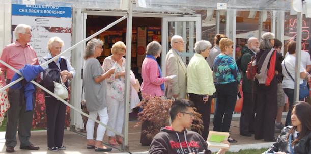 Edinburgh Book Festival atmosphere - queues are part of the culture!