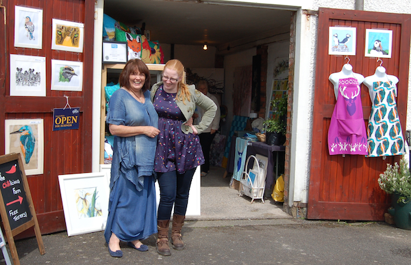 Artists Lesley Haycock and Chloe Brown at Pittenweem.